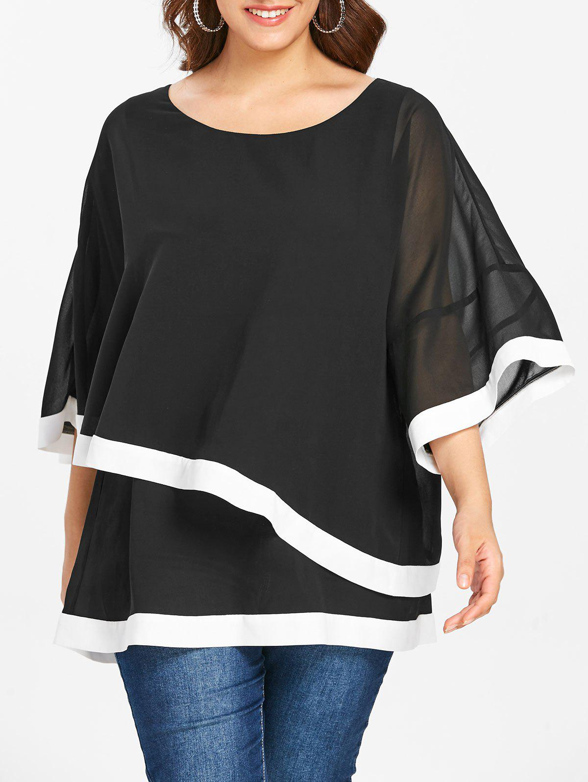 25748a5964d 62% OFF   2019 Plus Size Overlay Chiffon Blouse