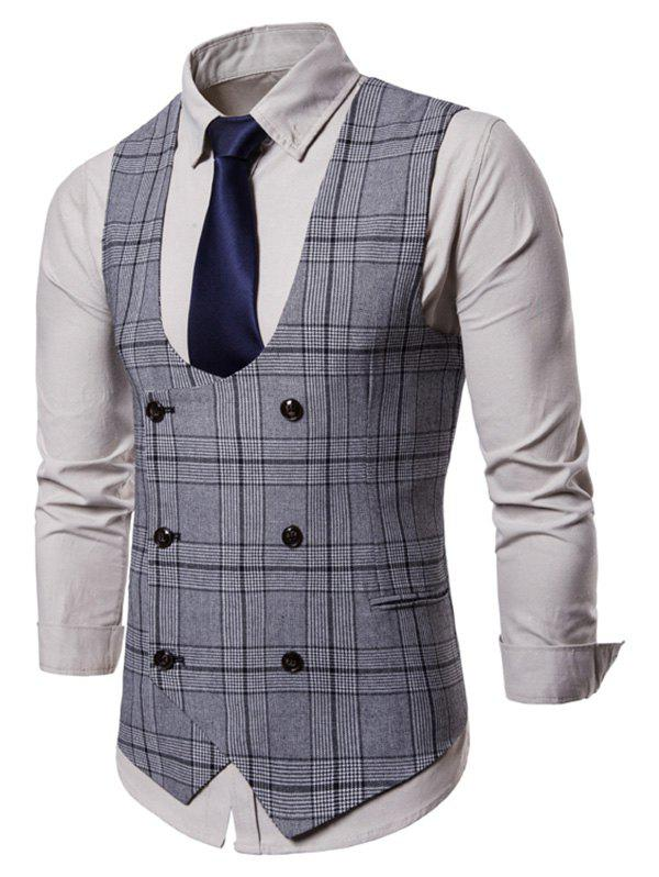Best Plaid Pattern Double Breasted Waistcoat