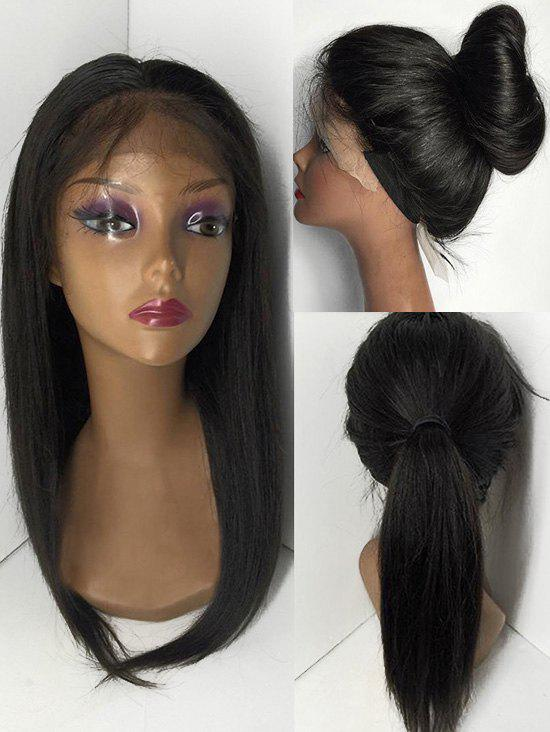 Trendy Free Part Medium Straight Human Hair Lace Front Wig