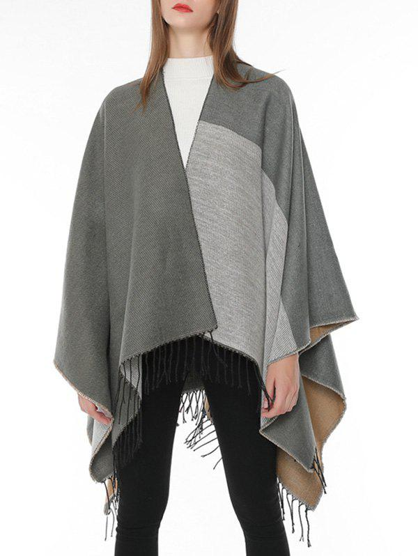 Outfits Winter Color Block Fringed Shawl Scarf