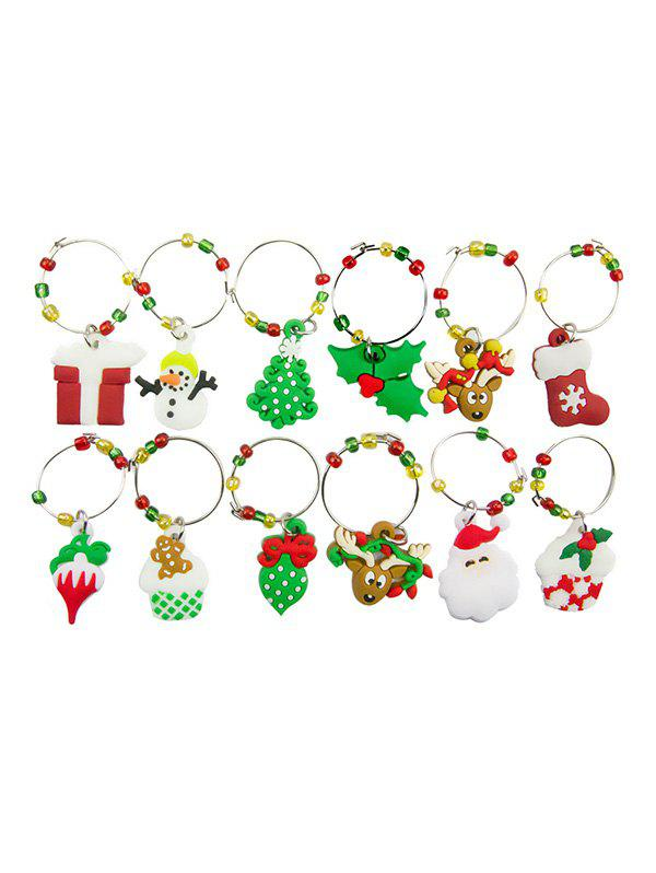 Buy Christmas Theme Pattern Wine Charm Ring Set
