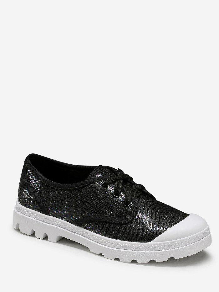 Online Glitter Low Top Lacing Casual Sneakers