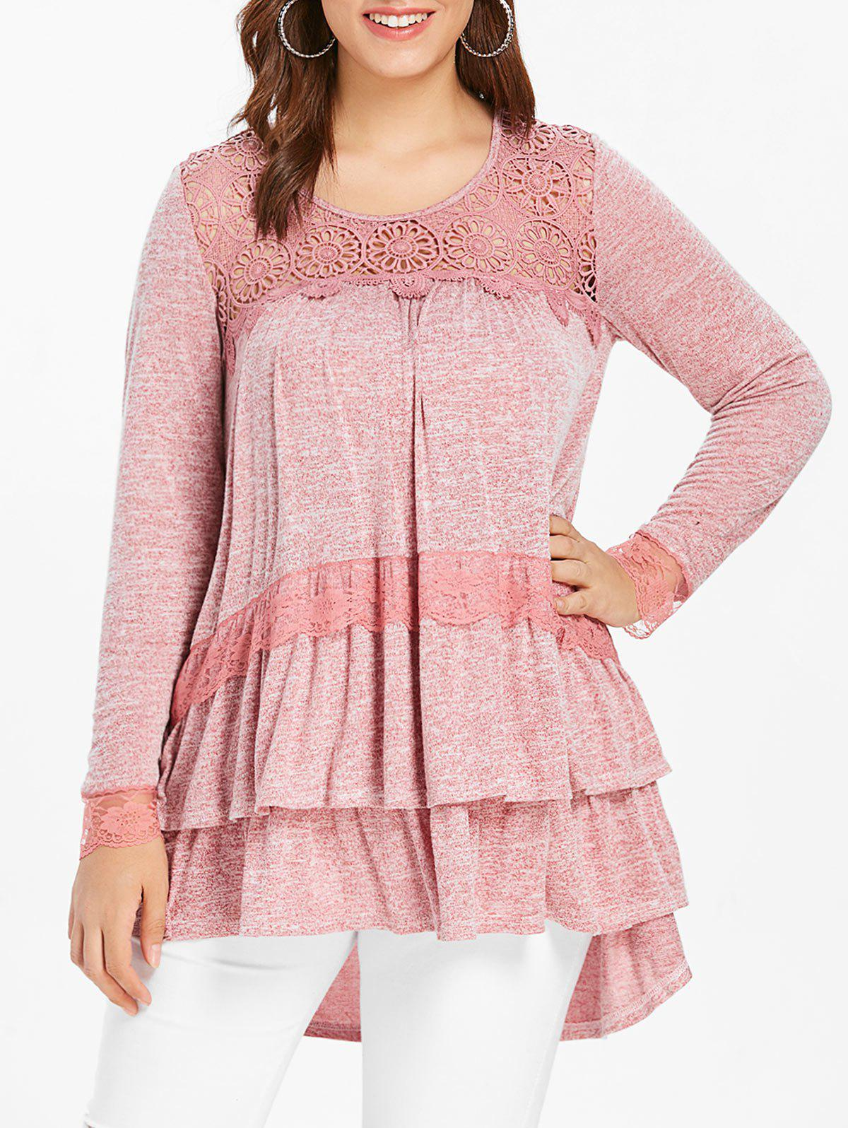 Trendy Plus Size Lace Panel Long Sleeve Tiered Top