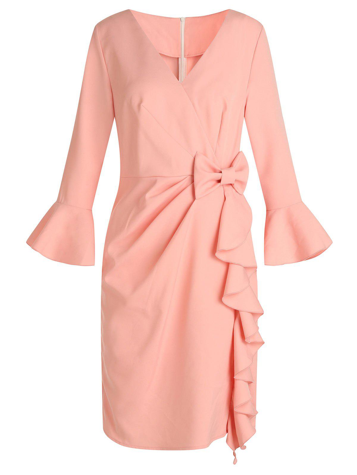 Hot Flare Sleeve Bowknot Ruffle Dress