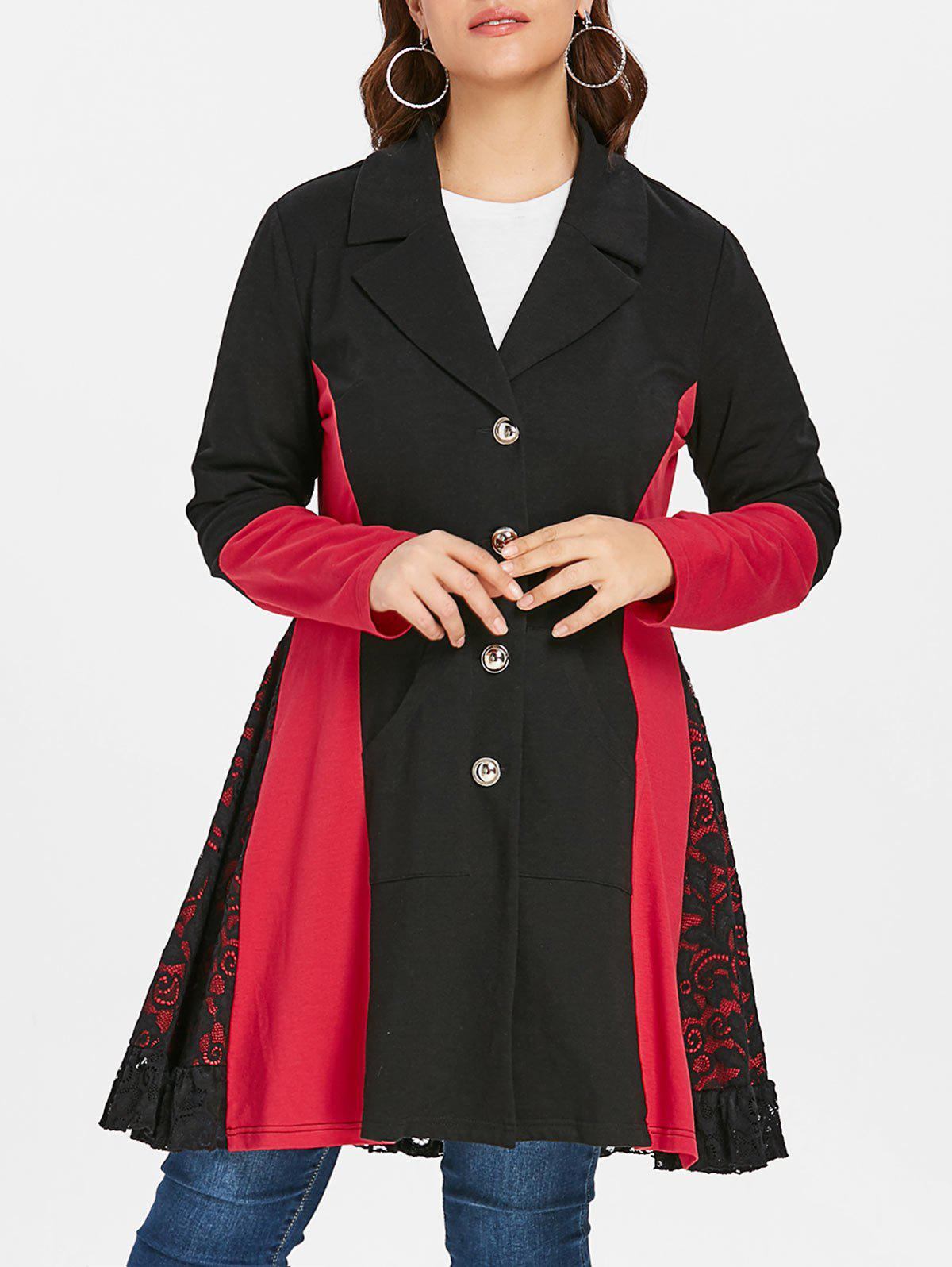 Discount Lace Panel Plus Size Color Block Coat