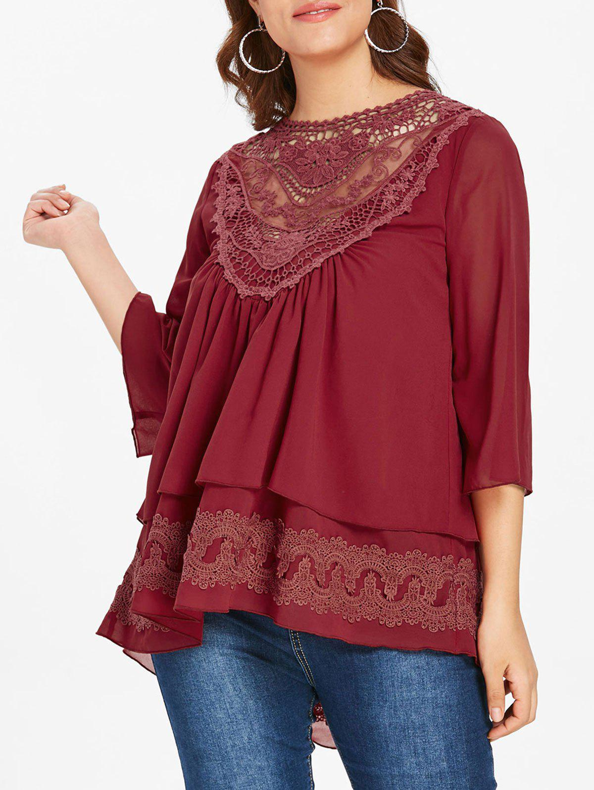 7c25dca19ff 27% OFF] Plus Size Lace Panel Layered Chiffon Blouse | Rosegal