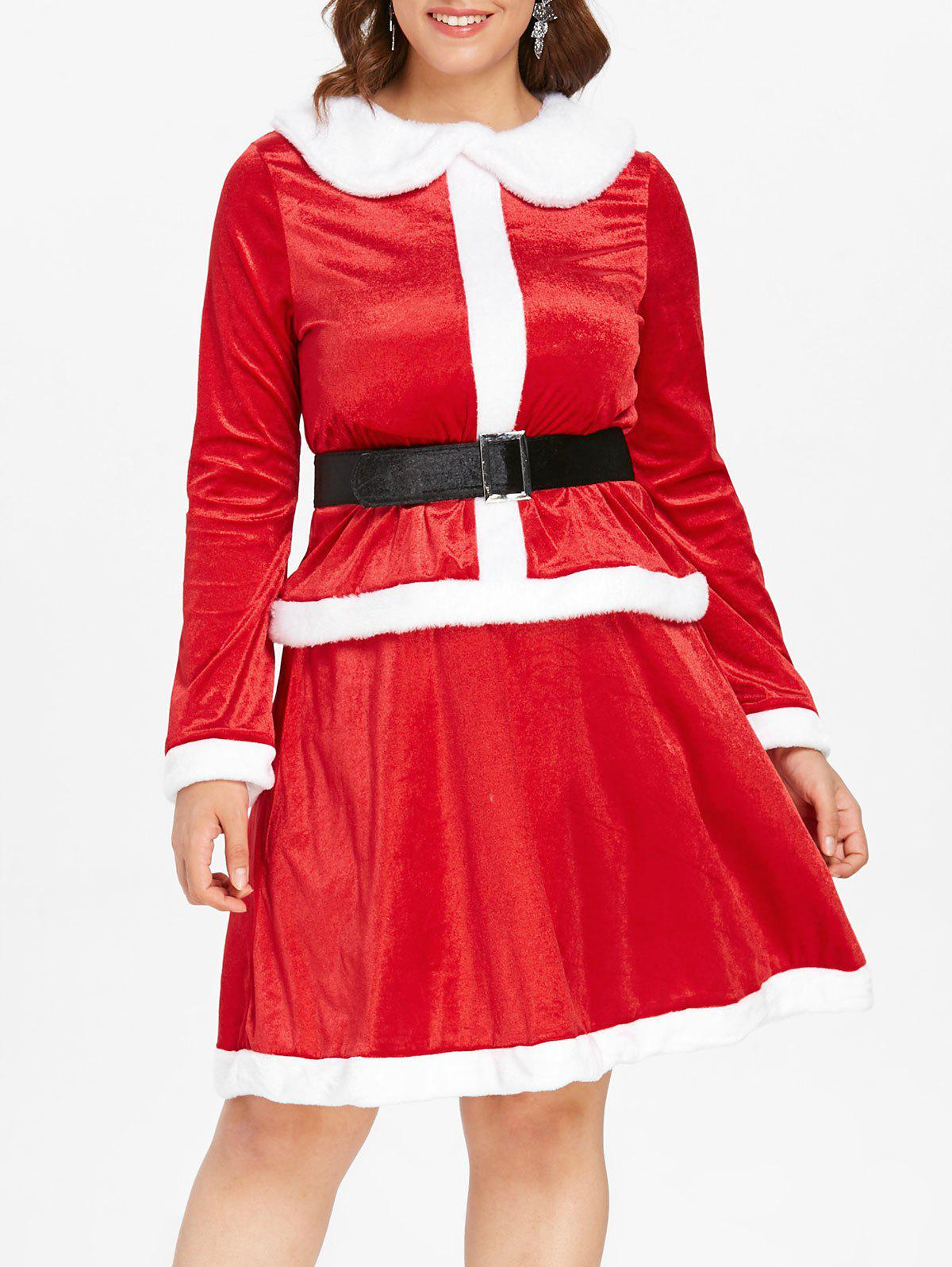 Plus Size Christmas Santa Claus Two Piece Dress, Red