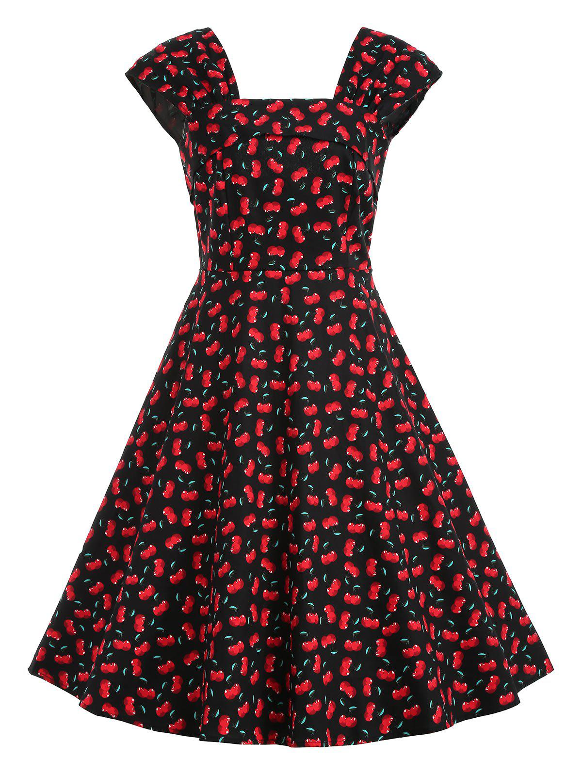 Outfit Cherry Print A Line Midi Dress