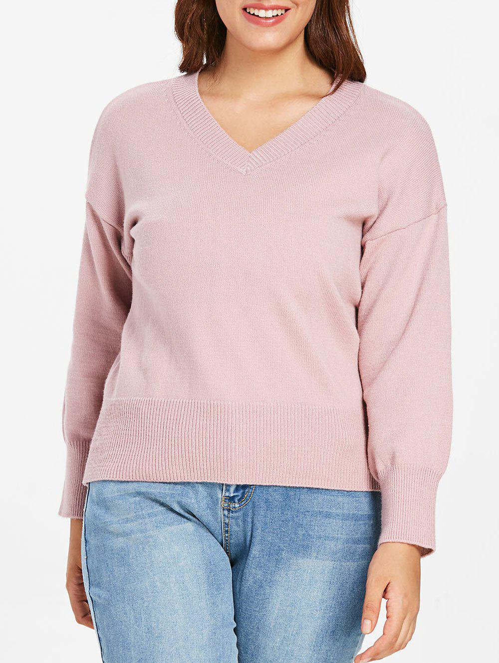Latest Plus Size  V Neck Ribbed Detail Sweater