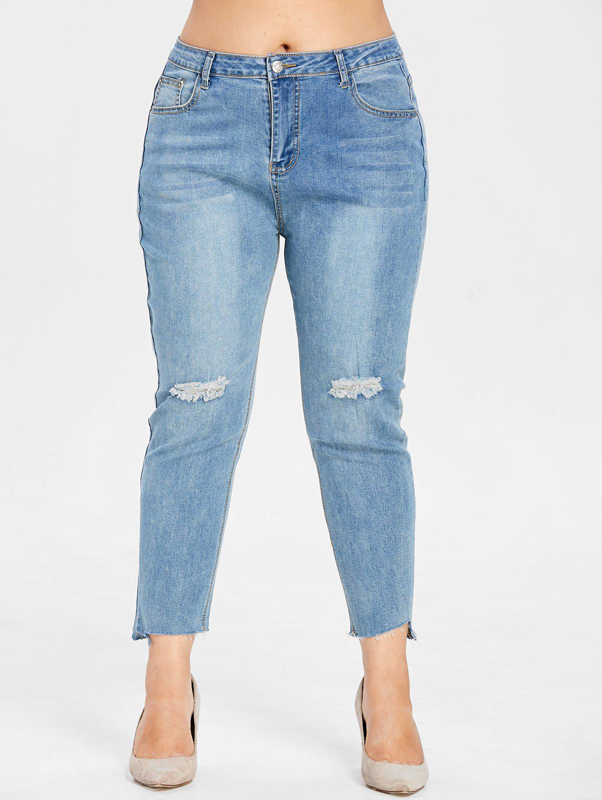 f1eabe46327b7 2019 Plus Size Distressed Detail Jeans