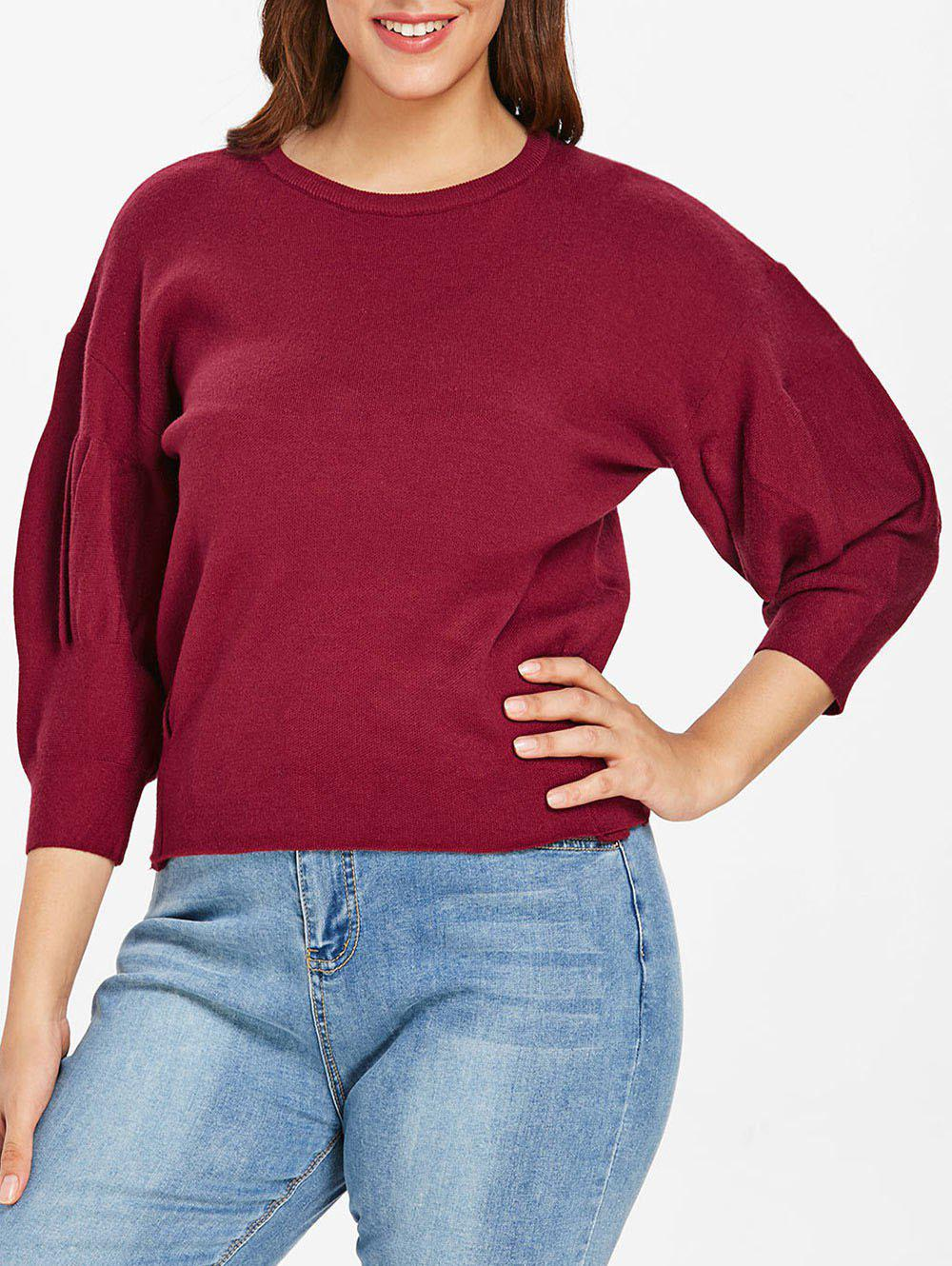 New Plus Size Puff Sleeve Sweater