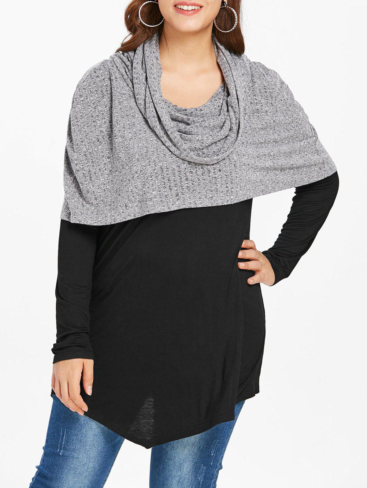 Outfits Plus Size Spliced Longline Hooded Sweater