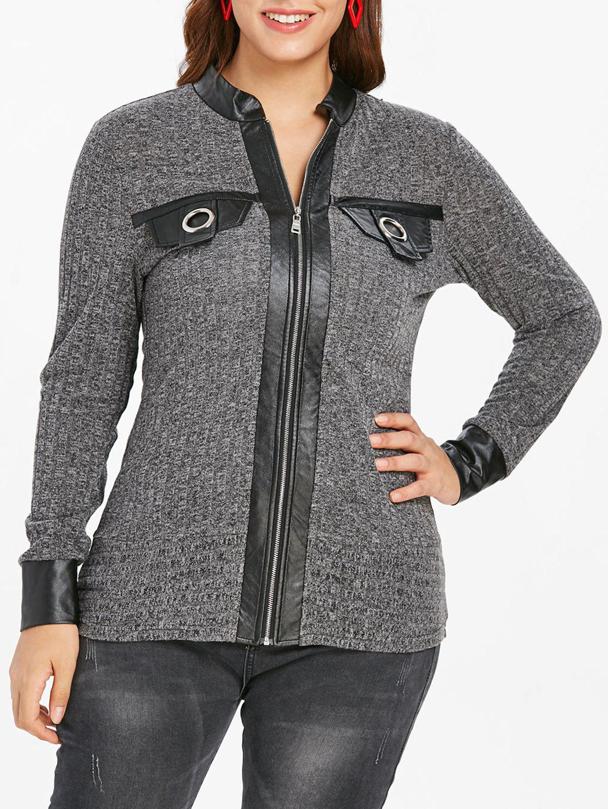 529c67b5ae 42% OFF  Plus Size Faux Leather Panel Front Zip Cardigan