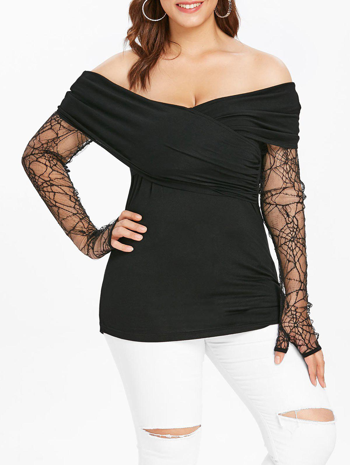 Affordable Plus Size Halloween Thumb Hole T-shirt
