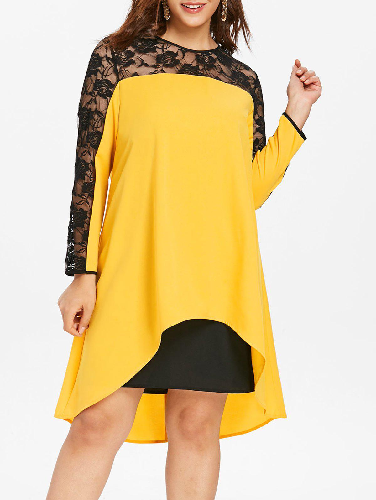 Discount Plus Size Sheer Insert Asymmetrical Midi Dress