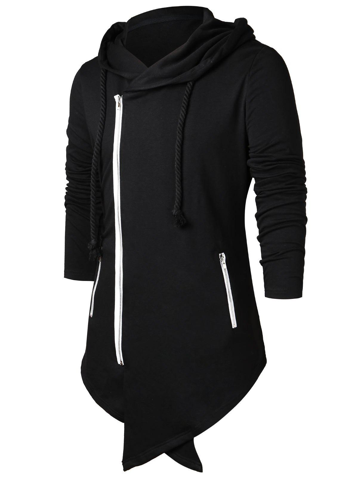 Latest Asymmetric Zippers Drawstring Longline Hoodie