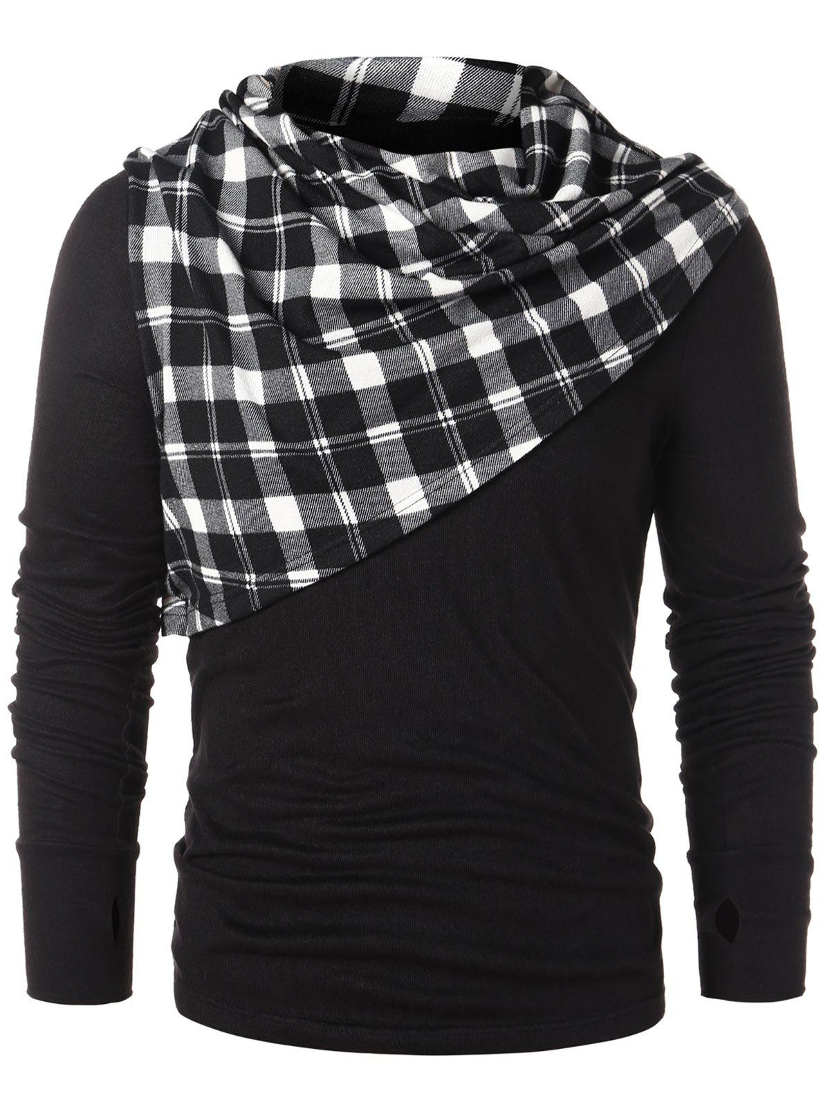Trendy Checked Print Pile Heap Collar T-shirt