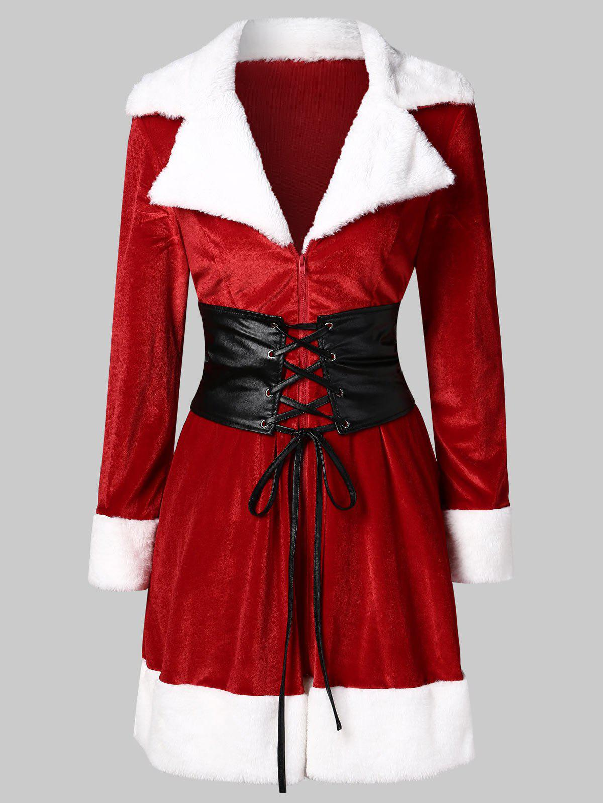New Christmas Lace Up Mini Velvet Dress