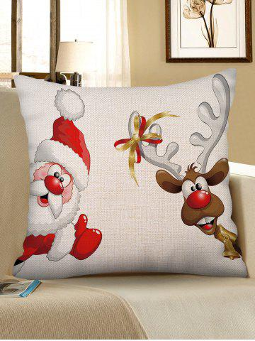 christmas santa claus elk print sofa linen pillowcase