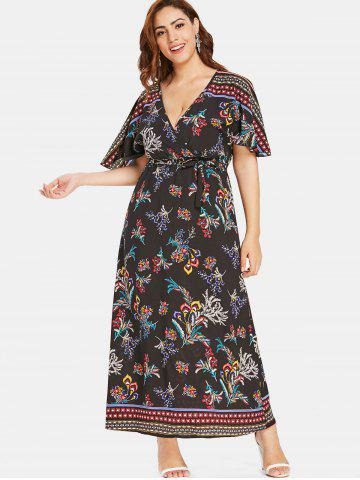 Plus Size Floral Print Maxi Dress - Free Shipping 6b0e28483