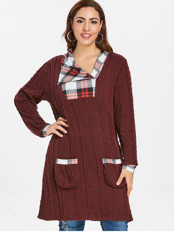 Plus Size Plaid Cable Knit Sweater