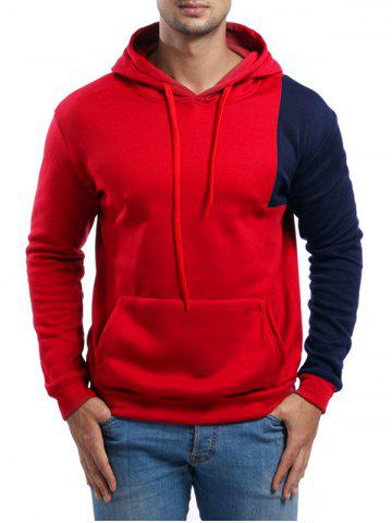 Asymmetric Contrast Color Pullover Hoodie - RED - S