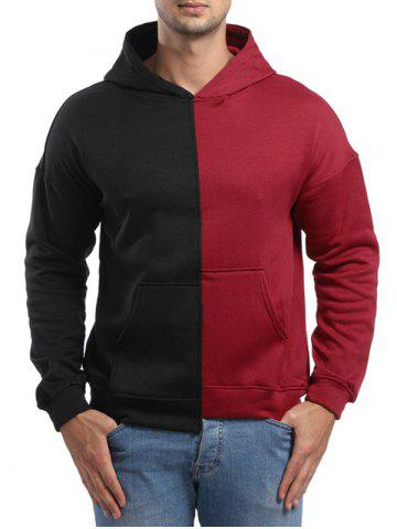 Raglan Sleeve High Low Hem Contrast Color Hoodie