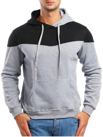 Casual Contrast Color Drawstring Hoodie