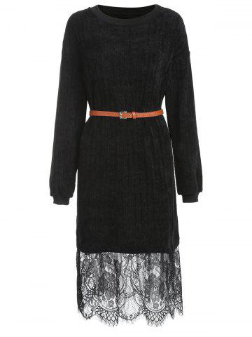 Plus Size Lace Trim Sweater Dress