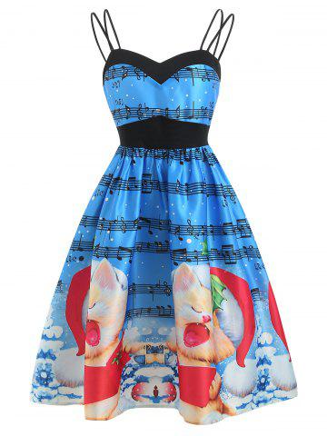 Christmas Musical Print A Line Dress