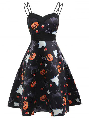 Vintage Halloween Pumpkin Print Dress