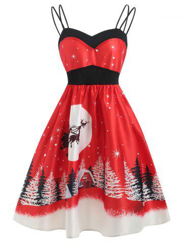 Vintage Christmas Printed Cami Dress