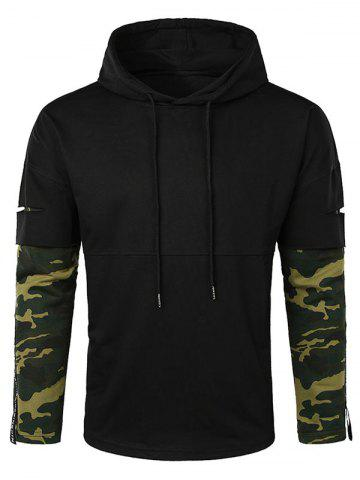 Camo Letter Lay Open Sleeve Hoodie