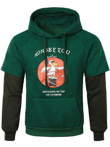 Letter Duck False Two Pieces Drawstring Hoodie - MEDIUM SEA GREEN - XS
