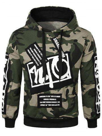 Letter Applique Camo Pullover Hoodie