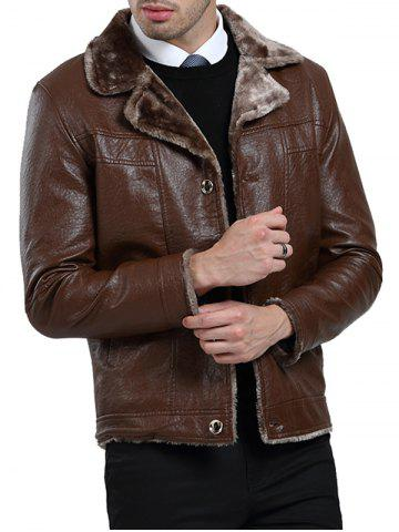 Turn Down Collar Fleece PU Leather Jacket
