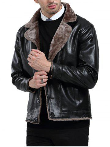 Button Fly Fleece PU Leather Jacket