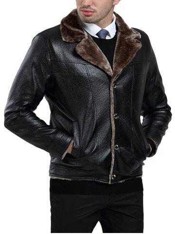 Zip Fly PU Leather Fleece Jacket