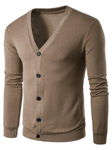 V Neck Button Up Solid Cardigan