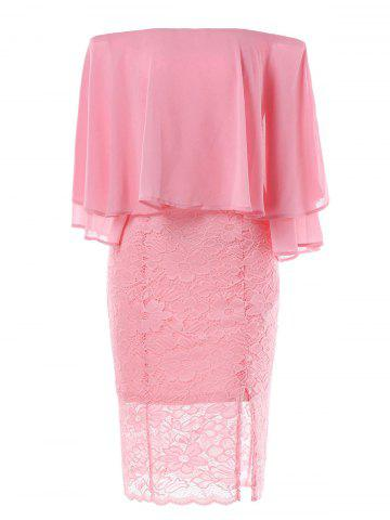 Off Shoulder Splicing Lace Capelet Dress
