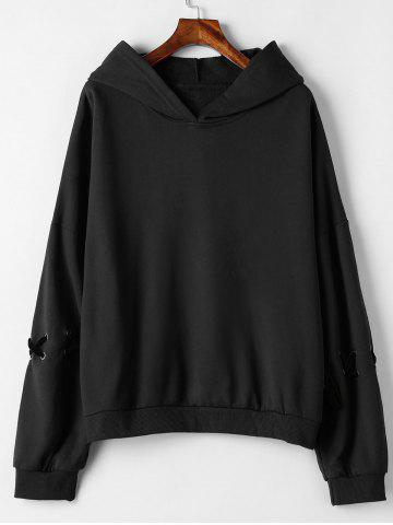 fc329f0a6b4 Black Lace Up Hoodie - Free Shipping