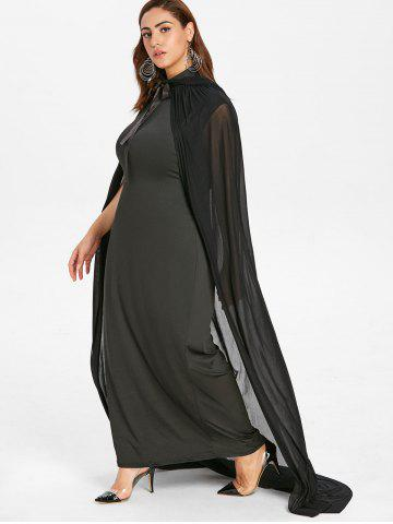 Halloween Plus Size Maxi Dress with Mesh Cloak
