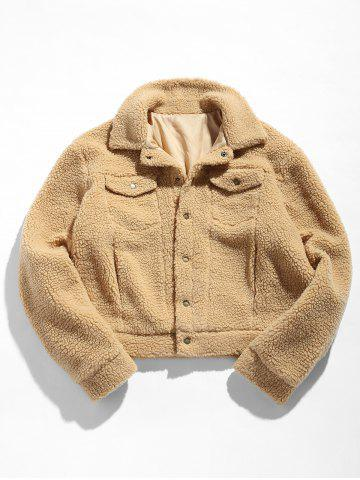 ZAFUL Snap Button Flap Pocket Fluffy Jacket