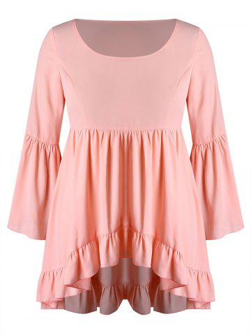 Plus Size Flare Sleeves High Low Flounce Blouse