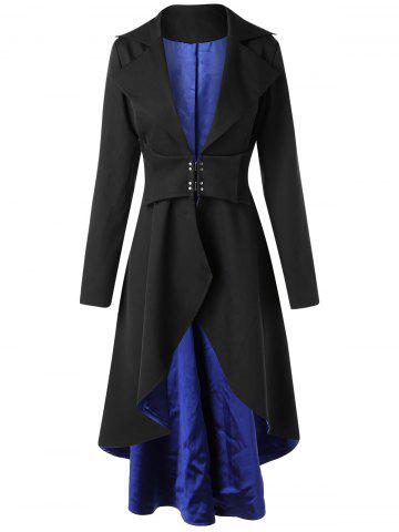 High Low Lapel Collar Skirted Longline Coat