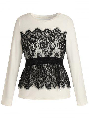 Plus Size Long Sleeves Overlay Lace Tee