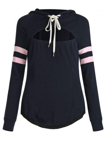 Cut Out Lace Up Stripe Sleeves Hooded Sweatshirt - DEEP BLUE - M