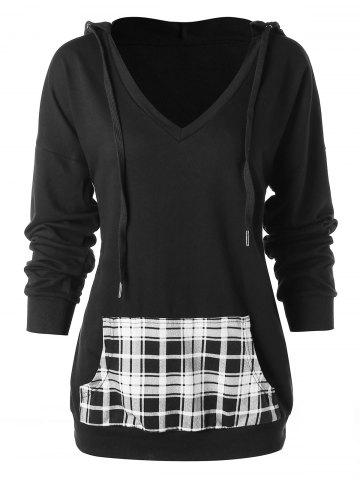 Plaid Pocket Drawstring Hoodie