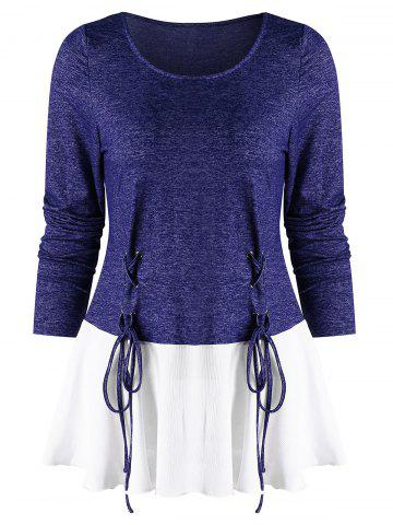 Lace Up Spliced Long Sleeves Top