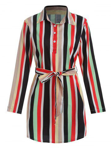 Striped Belted Mini Shirt Dress